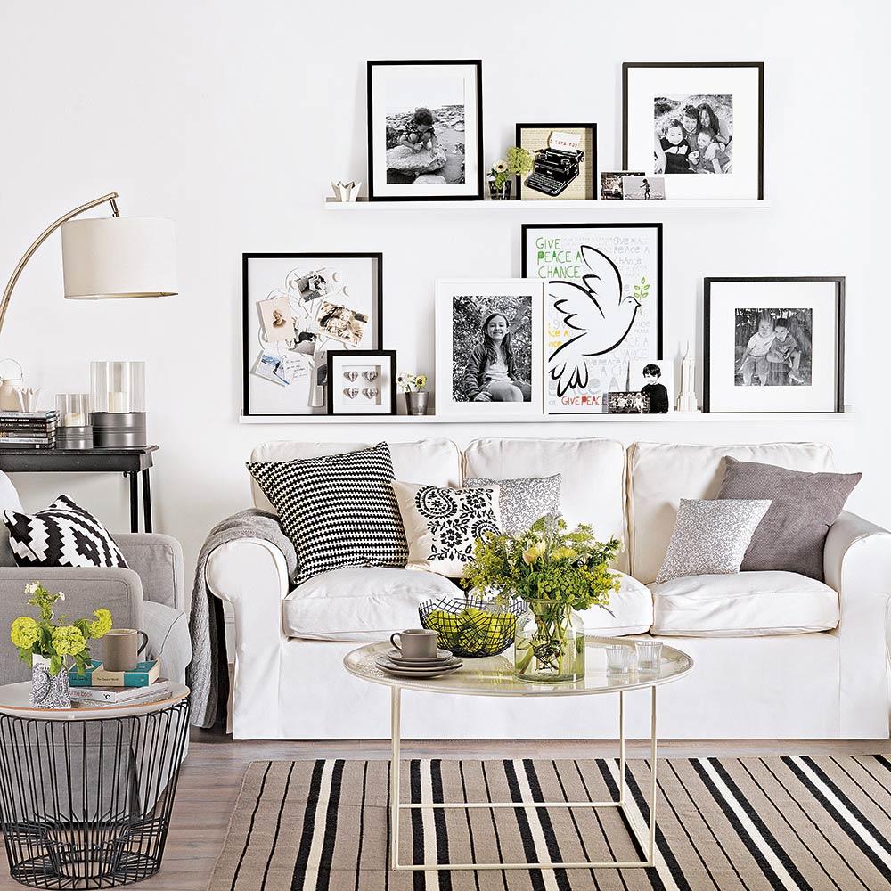 Interjer dneve sobe v beli barvi pozivite z vam ljubimi barvami detajlov